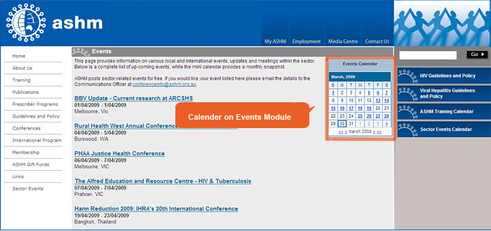 Events within a calander